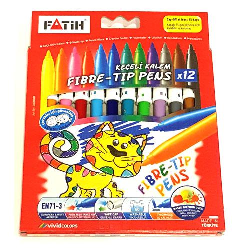 Fibre Tip Pens 12 Colour