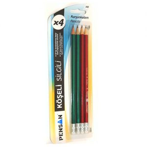 School Office HB Pencil Pensan Eraser 4 Pack